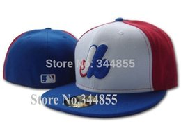 Wholesale One Top quality Montreal Expos White Color Baseball Fitted Hats Men s Flat Full Closed Caps MOE