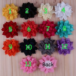 30pcs lot HOT Chic Chiffon Lotus Flowers Artificial Flatback Fabric Pointed Flowers With Pearl Hair Accessories Corsage Headbands Flower
