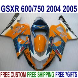 ABS fairing kit for SUZUKI GSX-R600 GSX-R750 2004 2005 K4 bodykits GSX-R600 750 04 05 orange blue Corona full fairings set SV34