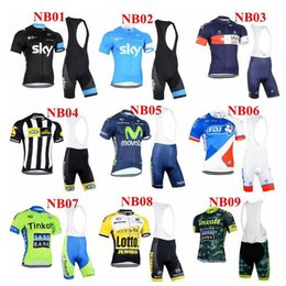 Wholesale 2015 New Style Team Sky Movistar And Lotto Cycling Jersey Set Short Sleeve Padded Bib Trousers NB01 NB09 Bicycle Wear Anti Pilling Suit