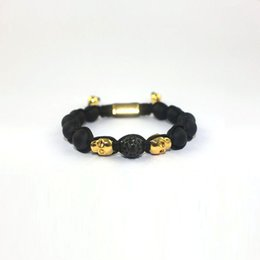 Wholesale Universal Beaded Bracelets Stone Needle Antique Gold Skull Friendship Bracelets Black Adjustable Beaded Jewelry Gift NI005