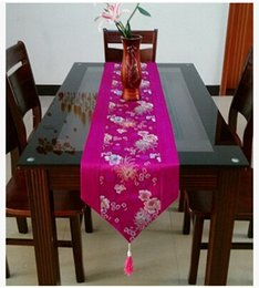 Chinese knot Patchwork Silk Brocade Luxury Banquet Table Runners High End Decorative Chrysanthemum Rectangle Coffee Table Cloth