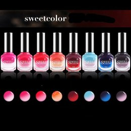 Wholesale Sweet Colors Nails - 1 Bottle 12ml Thermal Nail Polish Sweet Color Temperature Color Changing Nail Polish Nail Art Varnish 7 colors available