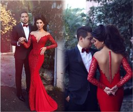 Wholesale Sexy Red Mermaid Evening Dresse Vestido de noite novo oriente médio estilo Red sereia apliques Chiffon Customize vestido de festa longo