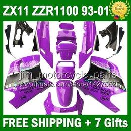 93-01 For KAWASAKI NINJA ZX11R Purple black ZX11 1993 1995 3J6115 ZZR 1100 ZX-11 ZZR1100 Purple white 11 1996 1998 1999 2000 2001 Fairing
