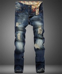 2016 TOP sale Mens Hiphop Jeans new Hole patch Jeans famous brand Embroidery beauty men Straight Cotton Denim Jeans Large Size