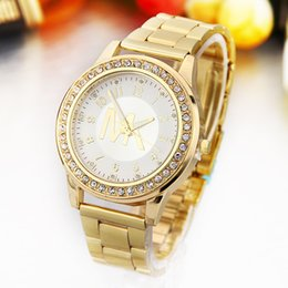 Wholesale The hot blast table watch strip suit fashion female golden watch drill are Euramerican style gold strip
