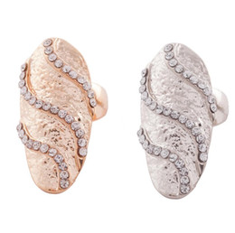 10pcs lot 2colors Cute Retro Exquisite Queen Rhinestone Crystal Waves Design Gold Silver Ring Finger Nail Rings