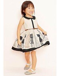 Wholesale 2015 New Girl Dresses Cartoon Cat Belt Summer Sundress Girl Princess Dress Y