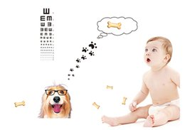 Wholesale Fashion Wall stickers zy6023 home wall cute dog Vision test stickers removable PVC decals home decoration sticker cm