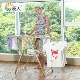 Wholesale Liren Brand New A factory direct Luxury Butterfly Collapsible Folding Dgold space aluminum folding balcony clothes racks clothes hanger