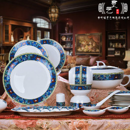 Promotion china réglé 56 Gros-européenne des couverts de haute qualité mis en véritable porcelaine de table 56 Jingdezhen vaisselle en porcelaine plats costume costume