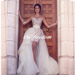 Sexy See Through Long Sleeves Wedding Dresses With Removable Detachable Tulle Organza Skirt Women Special Occasion Bridal Gown 2019 Custom