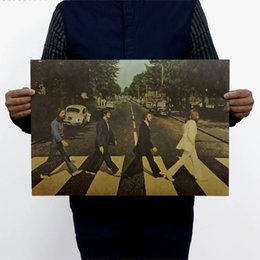 Wholesale 2015 Real Vinilos Paredes Wall Sticker Beatles Crossing Abbey Road Nostalgic Retro Rock Poster x35cm Vintage Greeting Card