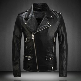 Wholesale super quality New Leather Jacket Fashion Mens Diagonal Zipper Slim Black Pu Leather Jackets Men Brand Biker Jacket
