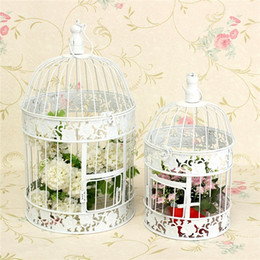 Wholesale Simple European style White decorative Metal Bird Cage Flower antique Vintage Chic Wedding Decoration Large Small unique style