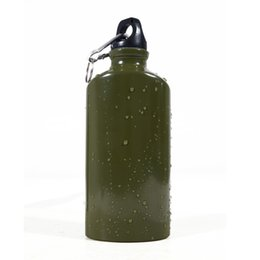 Wholesale American Oval Army Green Outdoor Sports Travel Climbing Aluminum Water Bottle Water Leak ML with Hang Buckle