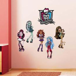NEW Monster High Cartoon Mural Wall Sticker Vinyl Decal Children Kids Room 3D Walls Stickers Teenage Wall stickers B001