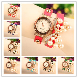 Hot Selling Wrap Pearl Butterfly Watch Women Quartz Movement Lady Leather Wrist Watches Bracelets Mix Colors Free Shipping