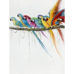 100% Hand-painted Parrots on The Branch Oil Painting on Canvas Wall Art Picture for Living Room Bedroom Office Wall Decoration