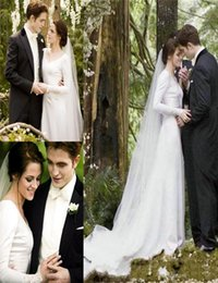 Wholesale Bella Swan Twilight Wedding Dresses V Neck with Long Sleeve Chapel Train Satin And Lace with Appliqued Modest Wedding Bridal Gowns new