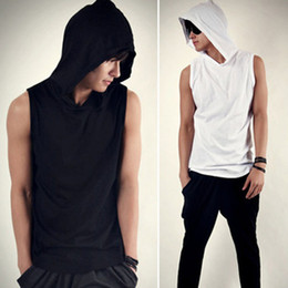 Rock and roll Men's T-Shirt Male casual sports style with a hood sleeveless shirt young men sport tank tops tx41