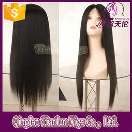 Wholesale 100 Brazilian Virign Remy Human Hair inch STOCK Silky Straight African American Glueless Full Lace Wig Front Lace Wig