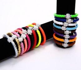 Wholesale Luxury Shambhala Bracelets Woven PU Leather Charm Bracelets Drilled Candy Color Magnetic Snap Wristband