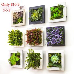 2015 3D Creative metope succulent plants Imitation wood photo frame wall decoration artificial flowers home decor living Room