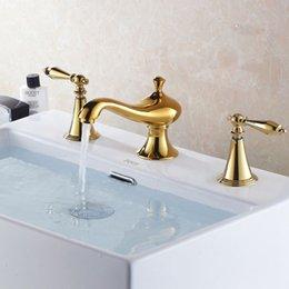 Wholesale Sanitary ware bathroom cabinet faucet gold plated set piece faucet cooper faucet gold faucet basin sink mixer taps HJ K