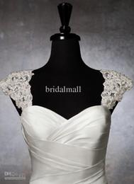 Romantic Exquisite Beaded Detachable Cap Sleeve 2015 Lace Wedding Dress Bolero Wedding jacket Straps Custom Made Bridal Accessories ZY2041