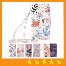 Wholesale Colorful Flower tree Butterfly Pirate Ship Wallet Pu Flip Leather Case Cover With Credit Card Slot Pouch Lanyard for iphone S Plus