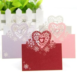 Wholesale-Free shiping 50pcs Love Heart Laser Cut Wedding Party Table Name Place Cards Favor Decor