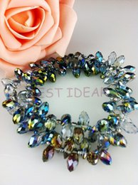 100pcs 6*12mm Color Plating Quartz Faceted Crystal Glass Teardrop Beads Crystal Loose Beads DIY free shipping