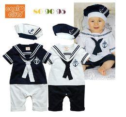 Wholesale Retail Summer Newborn Navy Style Baby Boys Girls Rompers Hat Set Kid s Short Sleeve Sailor Bodysuits Children Jumpsuit Clothing Suit