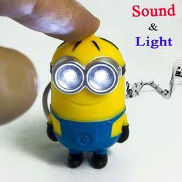 Wholesale New Minions Toys Cartoon Movie Despicable Me D Mini LED Keychain talk Minion PVC Action Figure Christmas Toys
