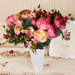 Wholesale Silk Flower Peony Centerpieces - Upscale Artificial Peony Bunch 47cm 18.5 inch Silk Flowers Simulation European Peony Flower for Wedding Centerpieces Decoration Supplies