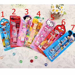 Wholesale Cartoon in set Creative Kids stationary sets Mechanical pencil eraser Lead Stationery combination Lovely stationery