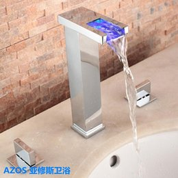 Wholesale AZOS Tall LED Color Change Chrome Silver Waterfall Widespread Hole Deck Mounted Hot Cold Water Mixer Sink Tap Bathroom Basin Faucets