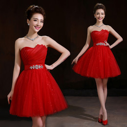 New Organza Tulle Sweetheart Ball Gown Bridesmaid Dress With Crystal 2016 Red Fashion Party Dress Short