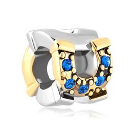 Fashion women jewelry European spacers September birthstone blue crystal metal bead loose charms fits Pandora charm bracelet