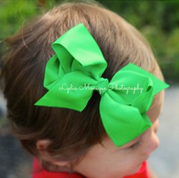 5'' Grosgrain Ribbon Flowers With Clips Lovely Baby Boutique Hair Bows Girl Barrettes Hair Accessories For Photography Props