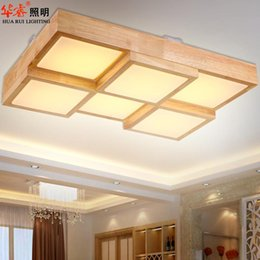 Wholesale Modern Square Solid wood flush mounted ceiling lamps Log color living room lamps LED creative study bedroom lights chinese pendant lights
