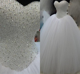 Luxuy Real Image Crystal Wedding Dresses 2016 Sweetheart Strapless Princess Tulle Bridal Gowns Free Shipping