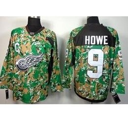Wholesale Factory Outlet Men s Gordie Howe Jersey Cheap Detroit Red Wings Throwback Hockey Jerseys CCM Red White Camo Stitched Logos C P