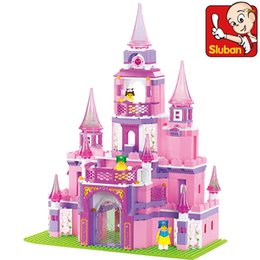 Wholesale Castle Toy For Girls - Sluban Pink Dream Series Princess Castle Building Block Toy Educational Construction Bricks Toys for Girl Compatible Blocks Gift