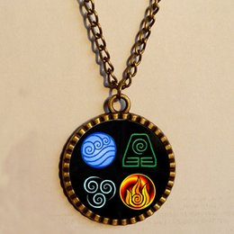 Wholesale Avatar the last Airbender Pendant necklace Fire Elements Antique art glass fashion Jewelry Chain gift vintage