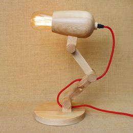 Vintage wooden table lamp Loft Wooden table lamp American Vintage Wooden Desk Lighting Hair Dryer shape cylinder Folding Table Lamp