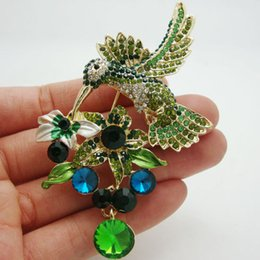 Wholesale-Fashion Jewelry Green Wings Hummingbird Flower Cluster Rhinestone Crystal Brooch Pin