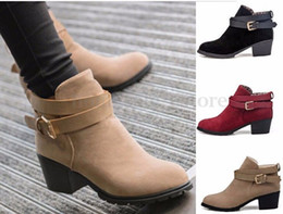 Wholesale Women Ladies Winter Snow Faux Suede Buckles Chunky Low Heel Ankle Boots Shoes